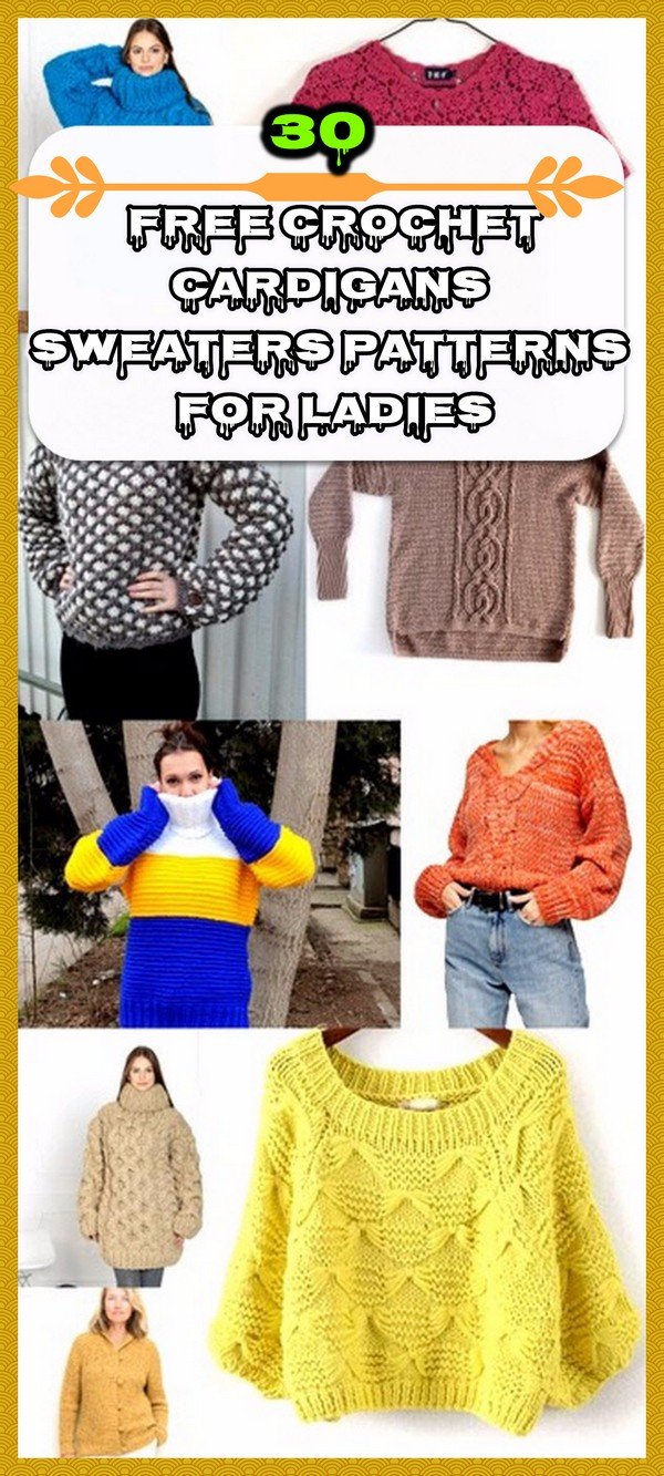 30 Free Crochet Cardigans Sweaters Patterns For Ladies