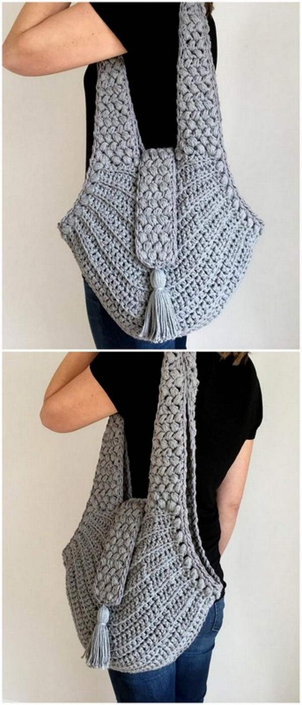 CROCHET GREY CHARMING BAG
