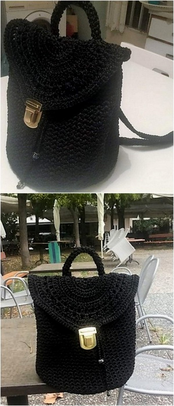 CROCHET BLACK BAG