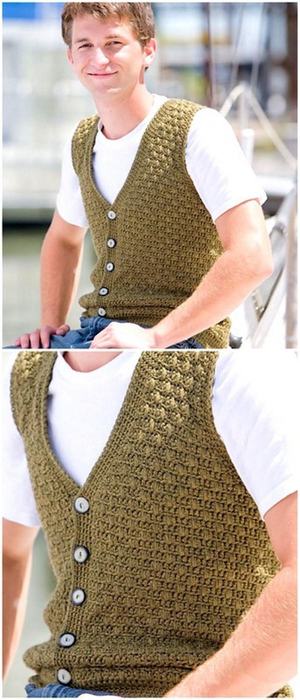 Crochet Sleeveless Sweater For Men