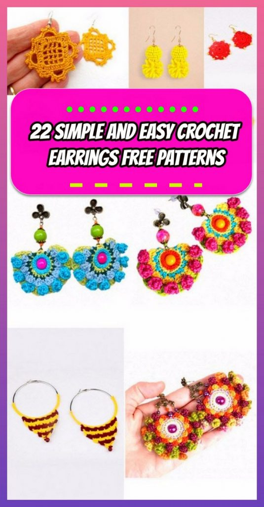 22 Simple and Easy Crochet Earrings Free Patterns